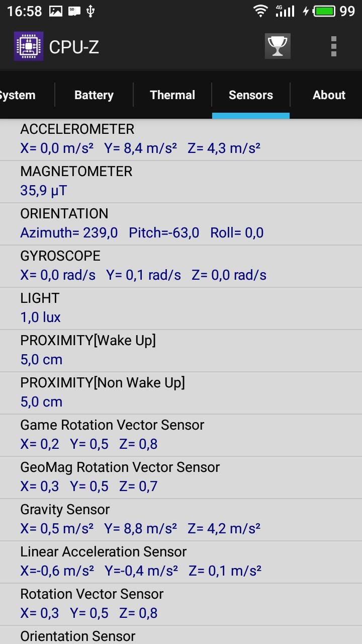Available sensors