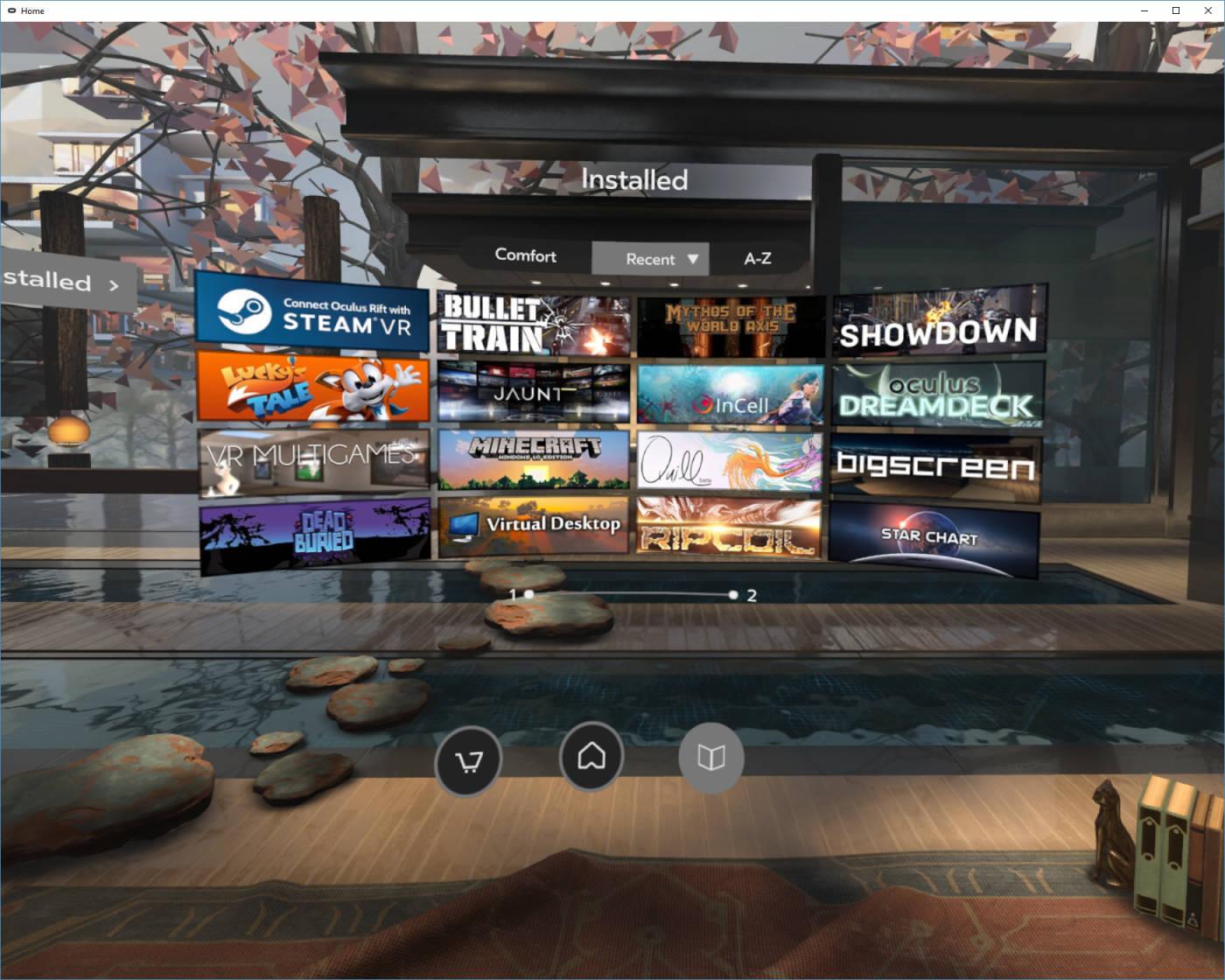 Oculus Home main screen